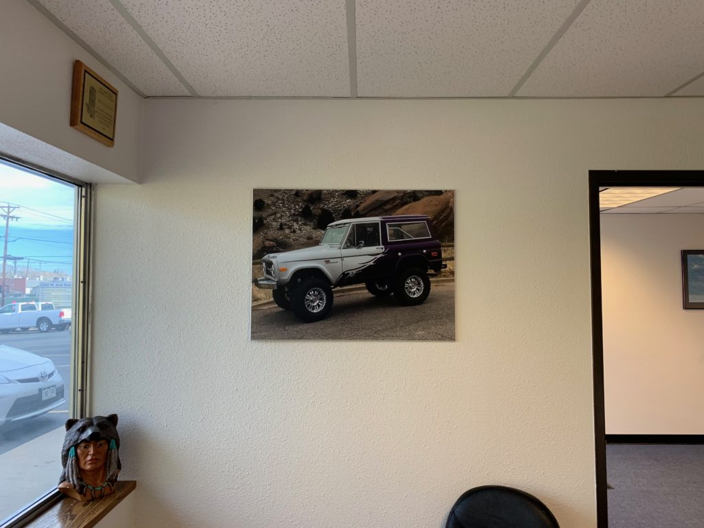 Photograph of Tom's Ford Bronco Mounted On Wood